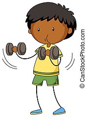 Little boy lifting weights