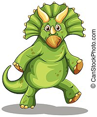 Green rubeosaurus standing on two legs