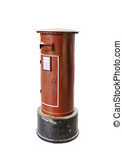 Red post box isolated on white background with clipping path.