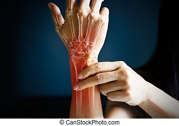Acute pain in a woman wrist, colored in red on dark blue...