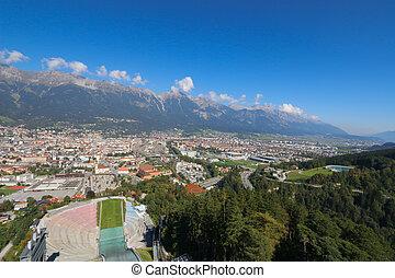 Bergisel Schanze, Ski Jump tower - View of Innsbruck city...