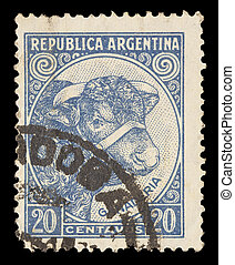 Postage stamp printed in Argentina showing Bull and Cattle...