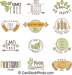 Natural Organic Labels and Icons, Vector Illustration Set -...