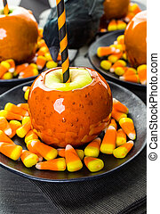 Candy apples - Handmade orange candy apples for Halloween.