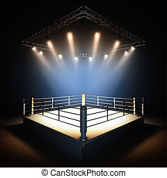 Empty professional boxing ring. - A 3d render illustration...