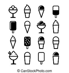 Ice Cream Icons Set on White Background. Vector