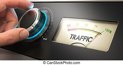 Generate More Website Traffic - Hand turning a knob up to...
