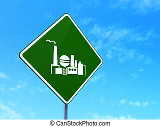 Business concept: Oil And Gas Indusry on road sign background