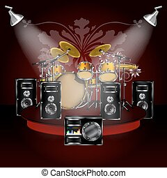 drum kit on the podium with loudspeakers - Background music...