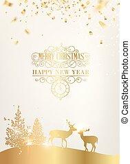 Vector deer silhouette. - Deer silhouette over golden...