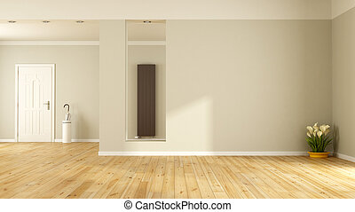 Clipart Of Empty Red Living Room With Wooden Door And Bookcase
