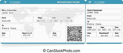 Pattern of airline boarding pass ticket with QR2 code....