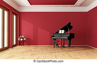 Red room with grand piano - Large red room with black grand...
