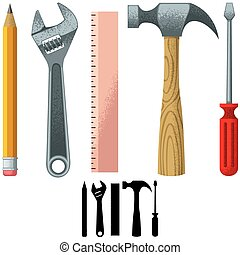 Tools - Set of tools over white background Silhouette...