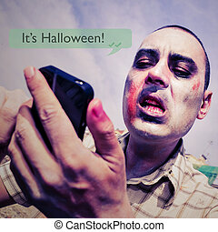 zombie with a smartphone and the text message it is...