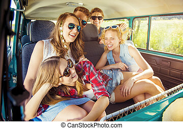 Young hipster friends a on road trip - Young hipster friends...