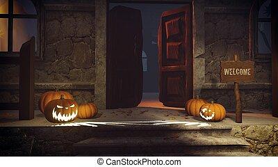 Halloween pumpkins on the doorstep