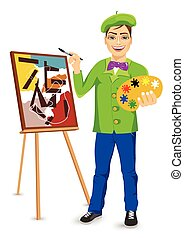 young happy male painter artist painting