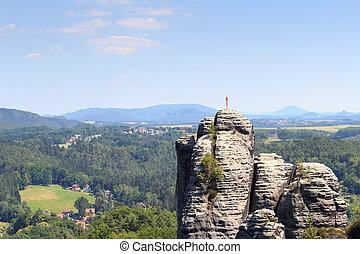 roccia, Pinnacolo, Monch, con, tempo, aletta, appresso,...