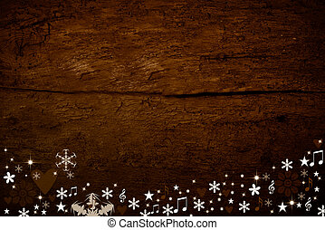Christmas wooden background decorated with snow, hearts and...