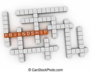 3d image Friendship word cloud concept