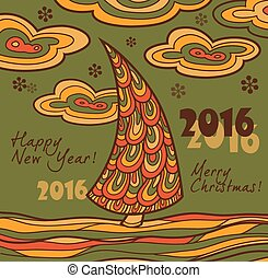 Retro greeting card 2016 with Chris - Retro New Year card...