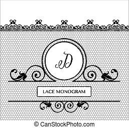 BlacK lace monogram D - Letter D black lace monogram,...