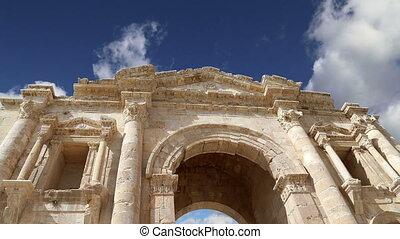 Arch of Hadrian in Gerasa, Jordan - Arch of Hadrian in...