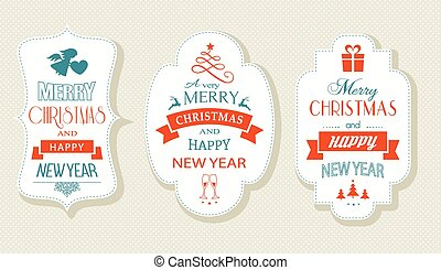 Merry Christmas and Happy New Year, Flat label set