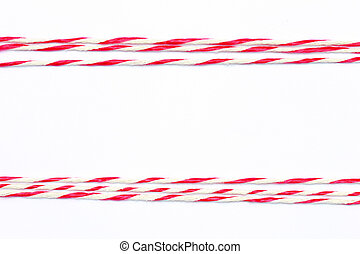 String red and white as frame on white