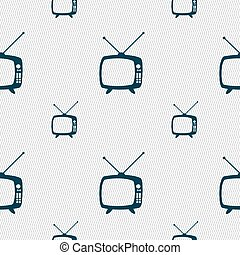 Retro TV mode sign icon. Television set symbol. Seamless pattern with geometric texture. Vector