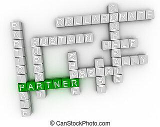 3d image Partner word cloud concept