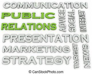 3d image Public relations word cloud concept