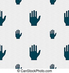 Hand print sign icon. Stop symbol. Seamless pattern with geometric texture. Vector