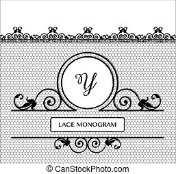 Lace Monogram Y - Letter Y black lace monogram, stitched on...
