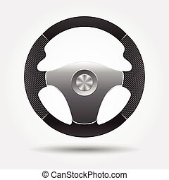 Steering wheel on a white background with a shadow