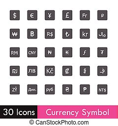 Set of Currency and business icon isolated on white...