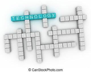 3d image Technology word cloud concept