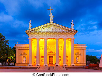 Cathedral of Vilnius in the evening, Lithuania. - Cathedral...