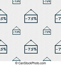 75 discount icon sign Seamless pattern with geometric...