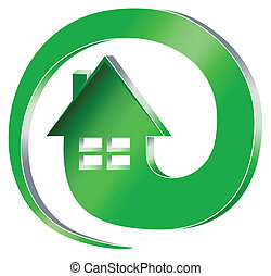 House at mail - Clipart of green house symbol inside email...