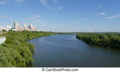 River in Moscow, Russia - aerial view