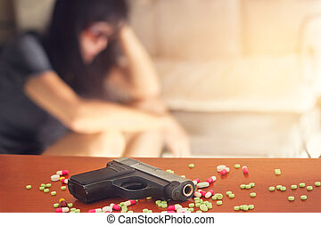 woman stress and depressed of her sickness, she decided to kill herself with a gun