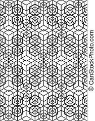 Futuristic continuous contrast pattern, illusive motif...