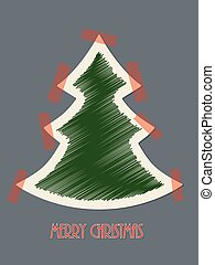 Christmas greeting card with red tapes - Christmas greeting...