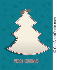 Christmas greeting with red tapeand turquoise background -...
