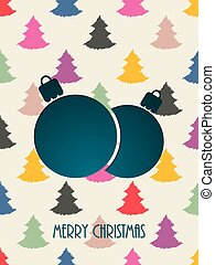 Christmas greeting with color scribbled christmastree...