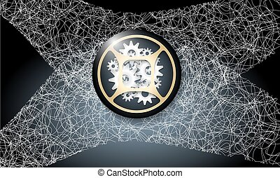 Dark background with abstract cobweb and cogwheels