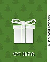 Christmas greeting with white giftbox - Christmas greeting...