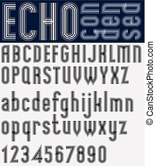 Illusory condensed black and white font and numbers, echo...